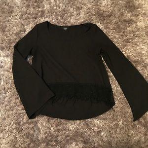 Nasty gal black bell sleeve shirt with fringe